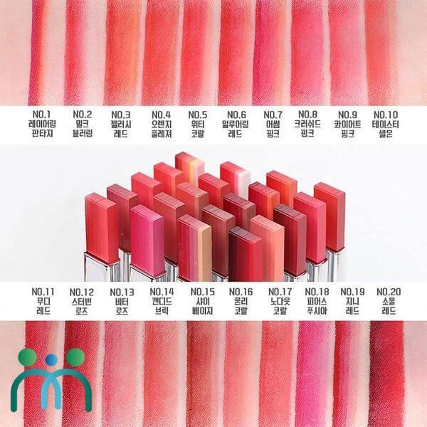 Layering Lip Bar sở hữu màu sắc đa dạng